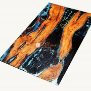 Blue Resin Dining Custom Table Top Wooden Handmade Collectible Furniture Decor