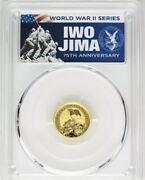 2020-p 15 Iwo Jima 75th Anniversary 1/10oz Gold Coin Pcgs Ms70 First Day Issue
