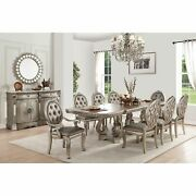 Acme Northville Dining Table In Antique Champagne Antique Traditional