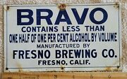 Rare Prohibition Bravo Na Beer Fresno Brewing Co. California Metal Crate Sign