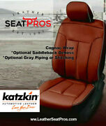 Leather Seat Covers 09-14 Ford F-150 Supercrew Xlt Gray Cognac Logos Saddleback