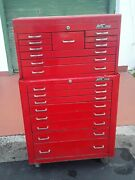 Vintage Mac Tools 8 Drawer Rolling Tool Cart And 10 Drawers Tool Box Chest Nice