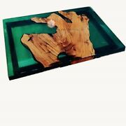 Deep Green Resin Acacia Wooden Personalize Table Handmade Luxury Furniture Decor