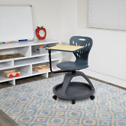 Dark Gray Mobile Desk Chair - 360anddeg Tablet Rotation And Storage Cubby