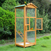 Large Bird Wooden Cage House Pet Budgie Toy Canary Parakeet