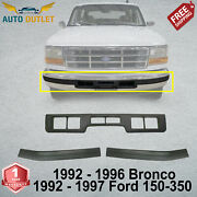 Front Bumper Molding Pad + Molding Center For 92-96 Bronco / 92-97 Ford 150-350
