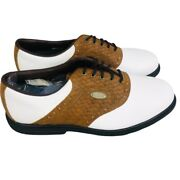 Footjoy Mens Ecomfort Golf Shoes Brown 57752 Basket Weave Lace Up Spikes 11m New