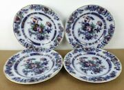 4 Antique French China Flow Blue Dinner Plates Pattern 759 Itb9