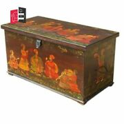 Mughal Hand Painted Indian Solid Wood Storage Trunk Box Made To Order