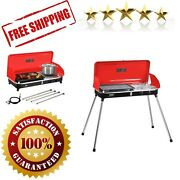 Propane Grill 2 Burner Stove Portable Barbecue Outdoor Cooking Camping Stove Red