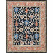 8and03910x11and0399 Navy Heriz Serapi Design With Motifs Hand Knotted Wool Rug R61293
