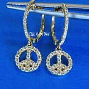 25mm 14k Solid Yellow Gold Diamond Pave Fancy Peace Sign Earrings