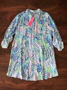 Lilly Pulitzer L Shell Of A Party Natalie Coverup Beach Swim Button Shirt Dress