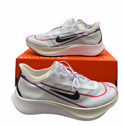 Nike Zoom Fly 3 White Black Hyper Violet At8241 102 Womenand039s 12 Menand039s 10.5 Nolid