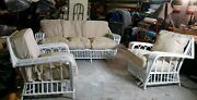 3 Pc Set Vintage Antique Wicker Italian Made Outdoor Furniture