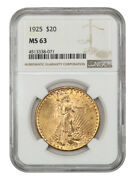 1925 20 Ngc Ms63 - Saint Gaudens Double Eagle - Gold Coin
