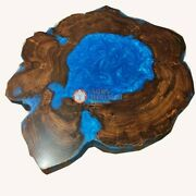 Blue Resin Epoxy Coffee Table Top Epoxy Table Top Acacia Wooden Table Home Deco