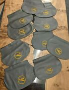 Aviation 10 Condor Aircraft Grey Leather Headrest Covers From Seats Upcycle