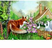 Diamond Painting Fox Animal And White Goose Design Embroidery House Wall Display