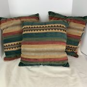Vintage Southwestern Chenille Throw Pillows Lot Of 3