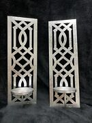 Set Of 2 Weathered White Wall Sconces Rustic Farmhouse Mirrored Candle Holders
