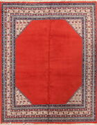 Vintage Bordered Botemir Open Field Oriental Area Rug Wool Handmade 7and039x9and039 Carpet