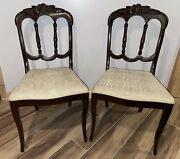 Antique Charlotte Chair Co Carved Wood Fruit Chairs Set Of 2