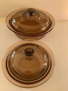 Corning Ware Vision Amber Glass Ribbed Casserole, 24 Oz And 2.5 Quarts With Lids