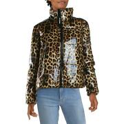 Juicy Couture Black Label Womenand039s Glossy Leopard Print Down Insulated Winter