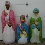 Vintage 3 Piece Wise Men Empire Life Size Nativity Lighted Christmas Blow Mold