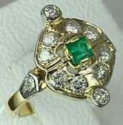 Vintage Original Soviet Solid Gold Ring With Emerald And Diamond 750 18k Ussr