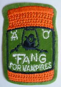 Vtg Unused Topps 1973-1974 Wacky Packages Sew-on Cloth Patch Fang For Vampires