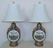 Pair Chinese Table Lamps Famille Rose Medallion Moon Flask Chinoiserie Asian
