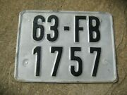 Vietnam Hanoi Later Type Motorcycle 63 Fb 1757 Square Rare Rear Licence Plate