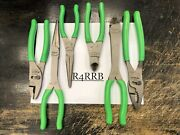 Snap-on Tools Usa New 6pc Green Slip Joint, Needle Nose And Cutter Pliers Lot Set