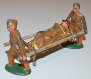 Vintage Lot Of 4 - Barclay Manoil Lead Toy Soldier - Wounded Man On Stretcher