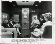 1981 Press Photo Passengers Chat In Lounge Of Business Car On Railroad Trip.