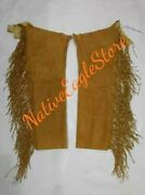 Old Antique Style Menand039s Tan Buffalo Suede Hide Twisted Fringes Leggings Ncp14