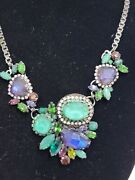 Erickson Beamon Couture Green Blue Faceted Multi Color Crystal Gunmetal Necklace