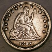 1867 S Liberty Seated Silver Quarter Very Rare W/beautiful Drapery Hair Feathers