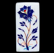 Marble White Handmade Pen And Candle Holder Lapis Inlaid Marquetry Floral Design