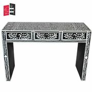 Pandora Bone Inlay Black Floral Console Table Made To Order
