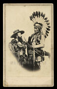Rare Western History Photo Edwin Perrin And Pueblo Indian W Guns New Mexico 1860s