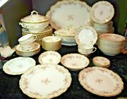 60-pc Bawo And Dotter Elite Limoges Pink Flowers Scalloped Rim Double Gold Rim