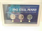 Complete 1943 Steel Penny Mint Mark Set P D S Mint Cents With Coa  Mg