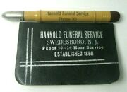 1935 Advertising Bullet Pencil And Address Book Hannold Funeral Service Swedesboro
