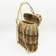 Vintage Wicker Basket Backpack Hand Made Philippines Rigid Woven Rattan Boho