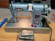 Vintage Heavy Duty Sewmor 606 Sewing Machine. Cleaned Oiled Tested With Case