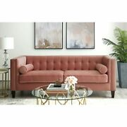 Paolo Velvet Button Tufted Sofa - Square Arms Tapered Legs