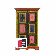 Pandora Hand Painted Indian Solid Wood Small Wardrobe Cabinet Made To Order